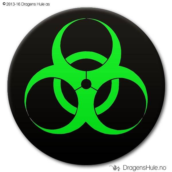 Button: Biohazard på svart (velg farge)